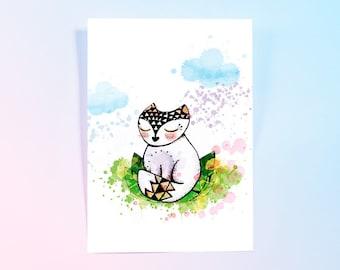 Poster - Geometric cat - illustration - decoration