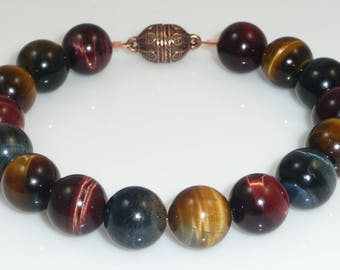 Flash - tiger's eye rounds with a magnetic copper clasp