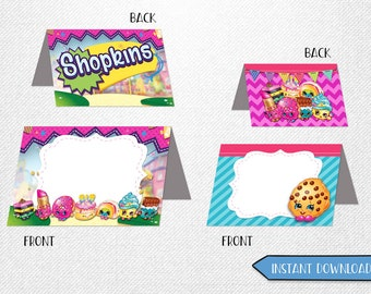 Shopkins food cards, Shopkins tent cards, Shopkins place cards, Shopkins food labels!