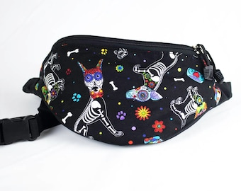 Fanny pack Dia De Los Muertos Dog Perro fabric - Cute  - Hip Waist Bag - 2 Zippers
