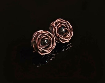 Rose earrings, hematite earrings, copper rose earrings, earrings rose, copper rose, rose wire wrapped, wire wrapped, copper rose, hematite