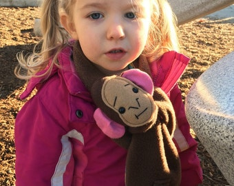 Animal Scarf, Short or extra long Brown Monkey Stuffed Animal for kids and adults MADE TO ORDER
