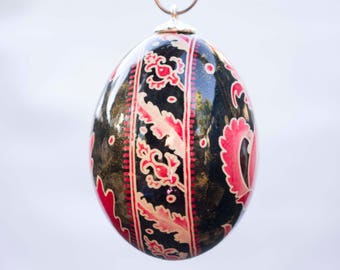 Flower and Leaf Egg Christmas Ornament