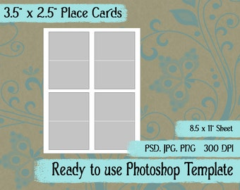 "Scrapbook Digital Collage Photoshop Template, 3.5"" x 2.5"" Folding Place Card"