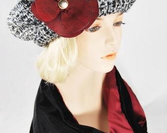 Black & White Wool Beret with Red Flower
