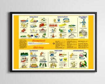 "Vintage 1979 DISNEYLAND ""Dial Guide"" Key POSTER! (24"" x 36"") - High Quality - Fantasyland - Tomorrowland - Frontierland - Souvenir - Disney"