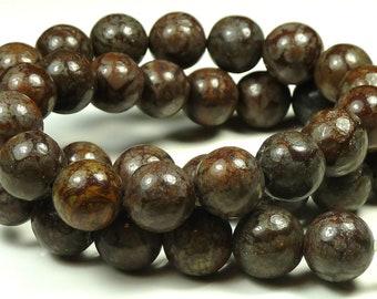 10mm Brown Snowflake Jasper Natural Gemstone Beads - 15.5 Inch Strand - Round, Dark Brown - BE26