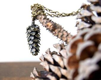 Large Woodland Pine Cone Necklace - antiqued bronze pine cone pendant