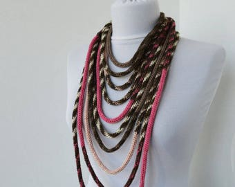 Knit Scarf Necklace, Multi strand necklace, Infinity scarf, Hand Knitted scarflette, knit scarflette - in yvory, pink, taupe and brown E109