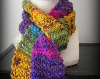 Colorful Scarf - hand knit scarf- acrylic knit scarf - scarf - turquoise scarf- pink scarf - purple scarf - yellow scarf -fringed scarf