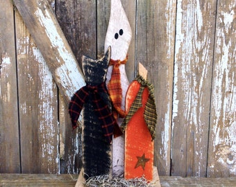Fall Decor, Primitive halloween decor, Primitive Ghost, primitive pumpkin, Country primitive, Primitive Fall Decor, primitive cat, OFG Team