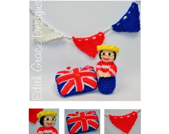 Queen Toy Knitting Pattern - Bunting Banner - Pin Cushion - Queen Knit Doll - PDF Knitting Pattern