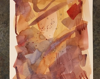 Abstract expressionistic watercolor painting on paper  9x12 inches