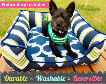 Navy & green Dog Bed - Quatrefoil, Stripe, Chevron - Choose your fabrics and create something perfect | Washable, Durable, Reversible