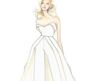Lady Gaga-Oscars-Academy Awards-Fashion Illustration-White-Fashion Print-Gaga Fashion-Brooke Hagel-Brooklit-Gaga-White Jumpsuit-Sketch