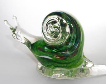 Blown Glass Green Snail Figurine