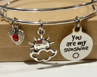bangle bracelet - charm bracelet - you are my sunshine - sunshine - gift for her - Valentine's Day gift - children's jewelry