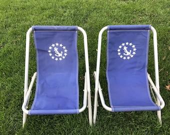 Vintage Nautical Beach Chairs Anchor