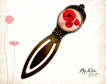 Bookmark Cabochon • poppies red beige glass • mad