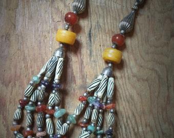 Vintage Bead Multistrand Necklace