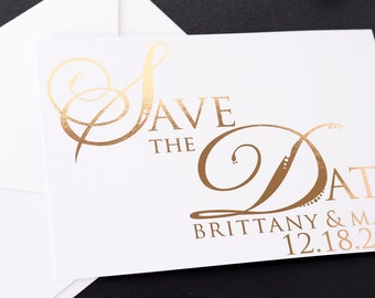 Metallic Foil Save the Date Cards - Beautiful Gold Foil Save the Dates - Wedding Announcement Cards - Metallic Wedding Cards - #satd-137