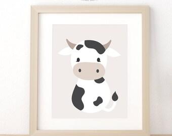 Cow Print, Farm Animal Nursery Art, Baby Shower Gift, Printable Wall Art, Farmhouse Nursery Decor, Baby Girl Nursery Wall Art, Nursery Print