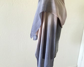 Hand dyed silk satin wrap must grey and pale taupe