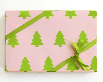 Kids Christmas Wrapping Paper Holiday Gift Wrap Christmas Gift Wrap for Girls Pink and Green Christmas Tree Wrapping Supplies Holiday Paper