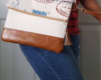 Tan Crossbody Bag, Crossbody Purse, Script Crossbody, Crossbody Strap, Brown Faux Leather, Clutch Bag, Crossbody Handbag, Mothers day gift
