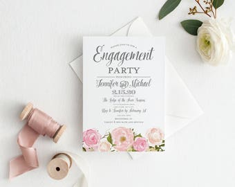Floral Engagement Party Invitation, Blush Floral Invitation, Floral Invitation, Engagement Party Invitations, Printed Invitation #CL114