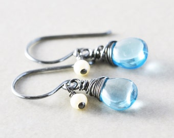 Blue Topaz Dangle Earrings, December Birthday, Blue Gemstone Drop Earrings, Petite Earrings