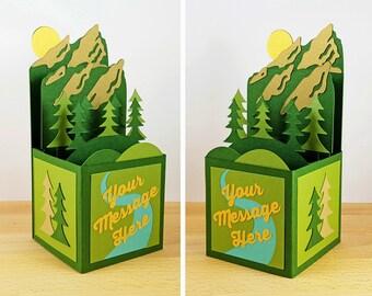 Custom Made Pop Up Card, Pop Up Colorado Flatirons Card, Pop Up Boulder Colorado Card, Mountain, Custom 3D Box Card, Personalized, CardBloom