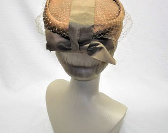 1960s Vintage Brown Satin Pillbox Hat with Bow and Netting