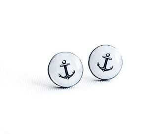 Anchor stud earrings, nautical earrings, anchor jewelry