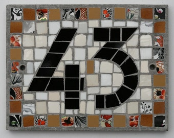 Art Deco Mosaic House Number