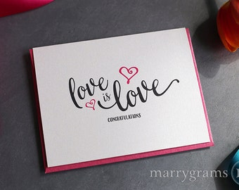 Love is Love Congratulations Wedding Day Card - Gay Wedding - Legal Marriage - Love Card for All Occasions LGBT LGBTQ Couple - WC118