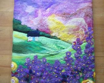 felt art painting, textile art, wall art, felt landscape
