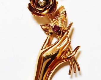 Coro Pegasus Brooch - Coro Hand Holding Flowers Brooch Signed Pink Rhinestones Gold Tone Vintage