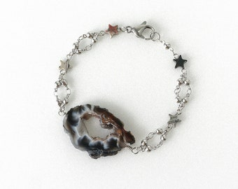 Natural Black Geode Agate Raw Stone Bracelet, Natural Statement Jewelry