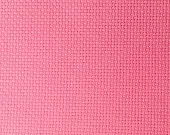 Bright pink AIDA 14 Count Fabric. Permin aida. Hot Pink embroidery cotton. Made in Denmark