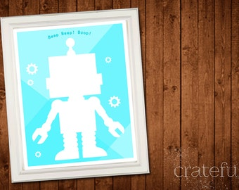Robot Printable Wall Decor- Digital Wall Art- DIY Wall Art- Wall Art Download- gears beep boop- Robot Home Decor- Robot Wall Hanging