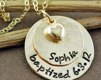 Hand Stamped Baptism Necklace, Personalized Gold Name Necklace, Gold Heart Necklace, Baptized Necklace, First Communion, Religious Necklace