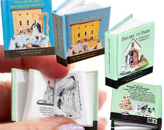 Miniature coloring book - 1:12 scale - Follymops, Le Chateau Bidaine, Prelude to Paris (replicas of our full-size coloring books)