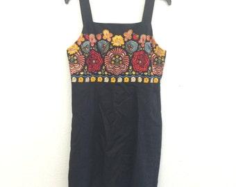 Floral Linen Dress, Black Linen Dress, Andrea Jovine, Sleeveless Dress, Spring Dress, Summer Dress, Designer Dress, Party Dress