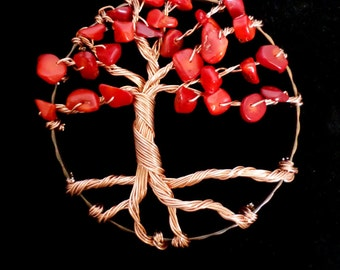 Tree of Life Copper Tree Sun-Catcher with Red Bamboo Coral Leaves, Window Hanging Nature Inspired Home Decor