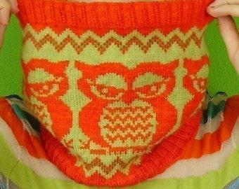 PDF Knitting  Pattern the  Fair  Isle Owlie Cowl