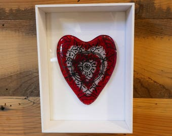 Red Lotus Mandala Framed Heart