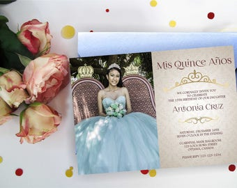 Quinceanera invitation with/ without photo. Quinceanera Birthday Invitation, Quinceanera Invites,  Quinceanera party. Printable Digital