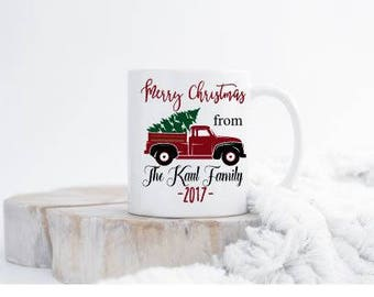 Red Christmas Truck Mug - Custom Family Mug - Stocking Stuffer - Christmas Mug Gift - Family Mug - Mugs with Saying - Gifts under 20