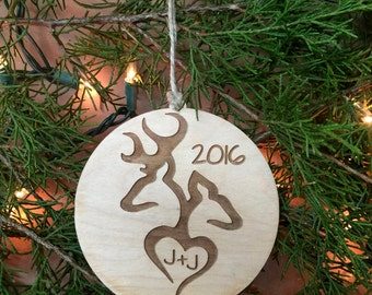 Ornament, Christmas Ornament, Deer Ornament, Tree Ornament, Personalized Gift, Valentines Day, Valentine Gift, Gift Tag,Buck and Doe